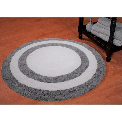 100% Soft Cotton Reversible Two Tone Bath Rug Color: Gray / White