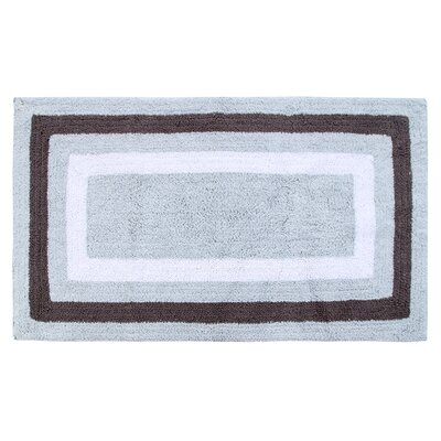 Deverell 100% Soft Cotton Bath Rug Color: White/Gray
