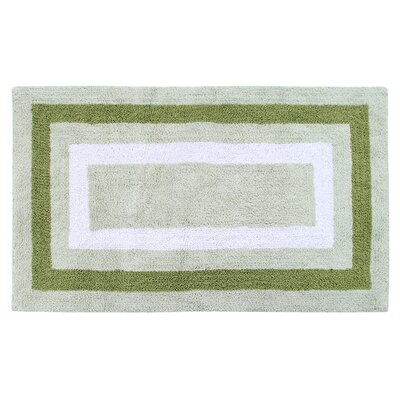 Deverell 100% Soft Cotton Bath Rug Color: White/Sage Green