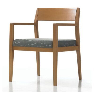 Hayden Guest Chair with Sytex Seat Support System Color: Vinyl Sand, Finish: Espresso