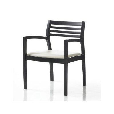 Riva Guest Chair with Sytex Seat Support System Color: Fabric Jet, Finish: Espresso