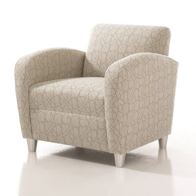 Crosby Armchair Finish: Brushed Aluminum, Upholstery: Fabric Dandelion, Upholstery Type: Grade 4 Fabric