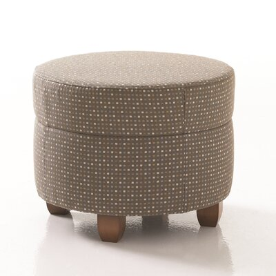 Crosby Round Ottoman in Grade 4 Fabric Upholstery: Fabric Annatto