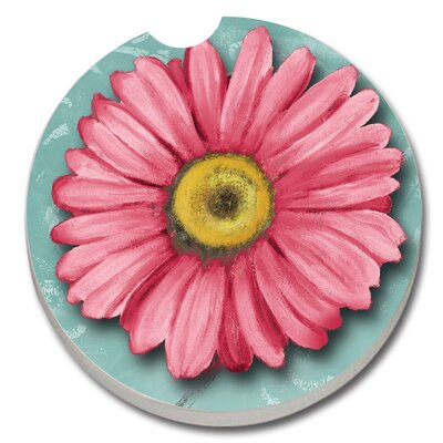 Absorbent Stone Blooming Daisy Car Coaster 09203