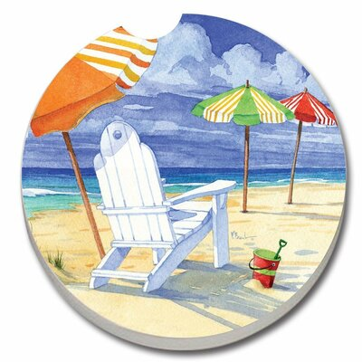 Absorbent Stone Beach Umbrellas Car Coaster 19138
