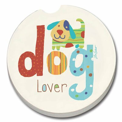 Absorbent Stone Dog Lover Car Coaster 92214