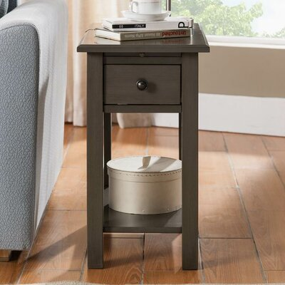 Lundgren Charging End Table With Storage� Color: Brushed Gray