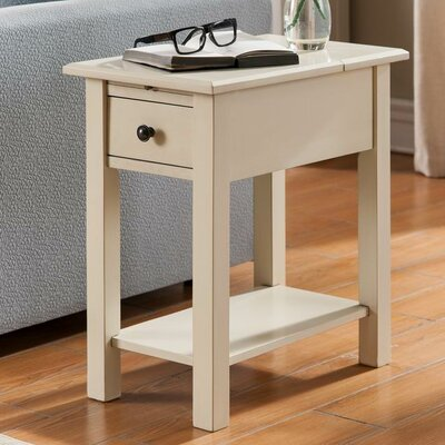Lundgren Charging End Table With Storage� Color: Antique White