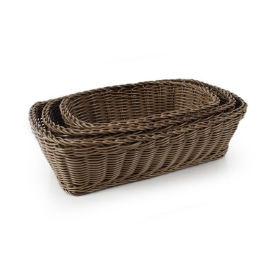 Plasket 3-Piece Poly-Wicker Rectangle Basket Set Color: Brown