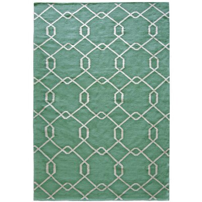 Diamond Hand-Woven Teal Area Rug Rug Size: 5 x 7