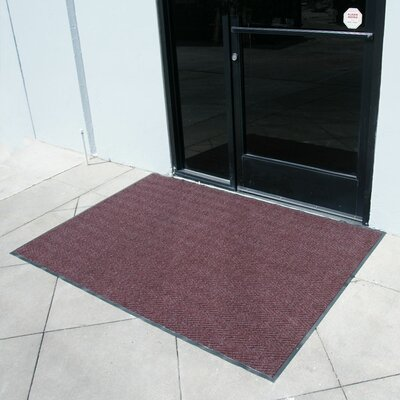 Chevron-Rib Commercial Entrance Doormat Rug Size: 3 x 5, Color: Burgundy