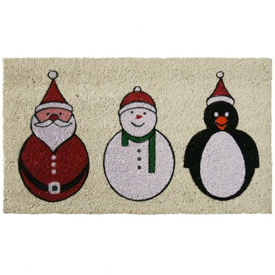 Santa, Snowman and a Penguin Christmas Holiday Doormat