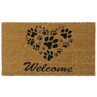 Hannah Heart-Shaped Paws Welcome Doormat Rug Size: 2 x 49