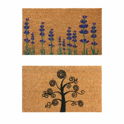 2 Piece Flowers Doormat Set