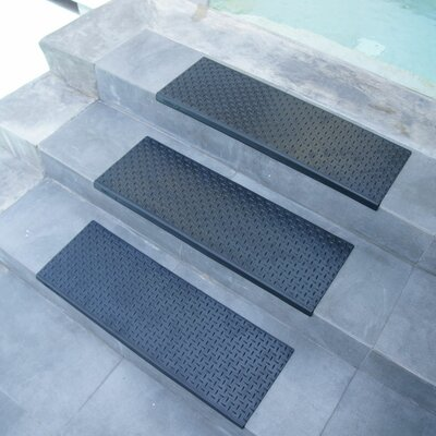 Diamond-Plate Step Non-Slip Rubber Stair Tread Mat