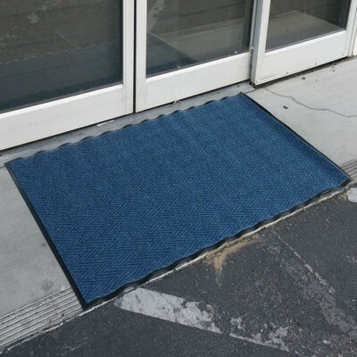 Chevron-Rib Commercial Entrance Doormat Color: Blue, Rug Size: 2 x 3