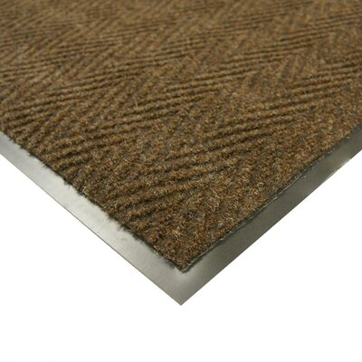 Chevron-Rib Commercial Entrance Doormat Rug Size: 4 x 8, Color: Brown