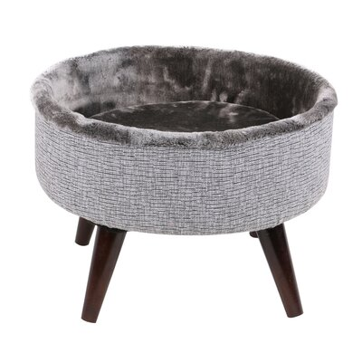 Bailey Round Cat Bed with Wood Leg
