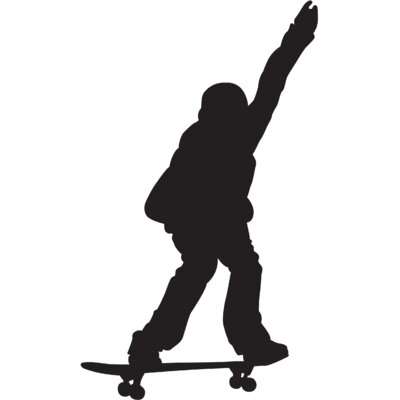 Skateboard Silhouette X Cutout Wall Decal Size: 72