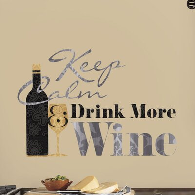 Keep Calm Drink More Wine Quote Wall Decal 2373SCSWH