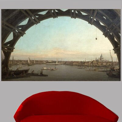 1747 'London seen through an arch of Westminster Bridge' by Giovanni Canaletto Oil Painting Print Poster Size: 14.5