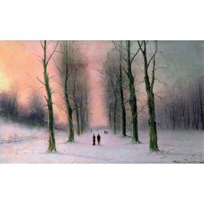 'Snow Scene Wanstead Park' Oil Painting Print Poster Size: 14.5