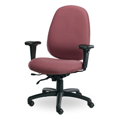 Advent High-Back Task Chair with Arms Arms: Angled Arm Rests, Seat Mechanism: Tilt and Height Adjustable, Upholstery: Grey