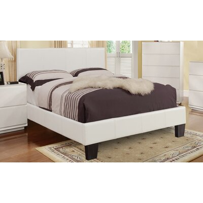 Upholstered Platform Bed Color: White, Size: Double