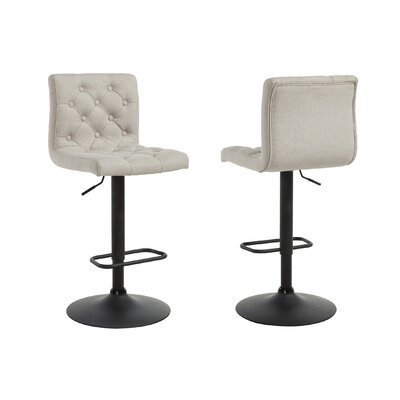 Adjustable Height Swivel Bar Stool Upholstery: Beige