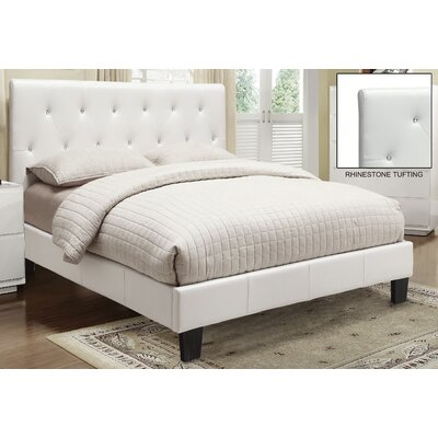 Upholstered Platform Bed Size: Queen, Upholstery: White