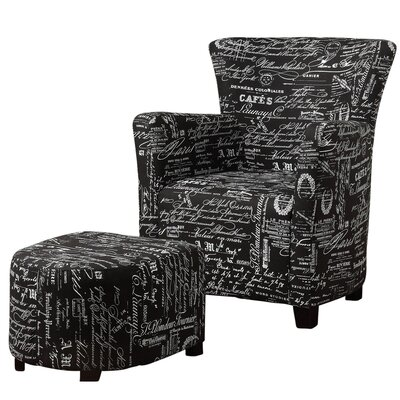 Fabric Arm Chair and Ottoman Color: Black