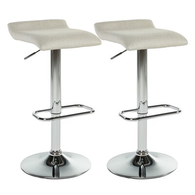 Adjustable Height Swivel Bar Stool With Cushion Upholstery: Beige