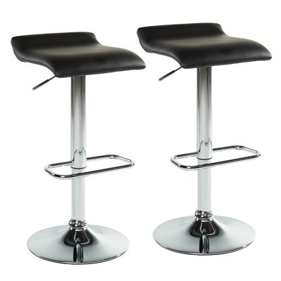 Adjustable Height Swivel Bar Stool With Cushion Upholstery: Black