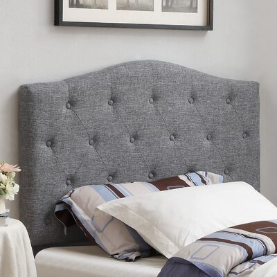 Twin Upholstered Panel Headboard Upholstery: Grey