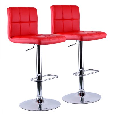Adjustable Height Swivel Bar Stool Upholstery: Red