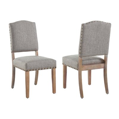 Penniman Fabric Side Chair with stud detail (set of 2) Upholstery Color: Gray