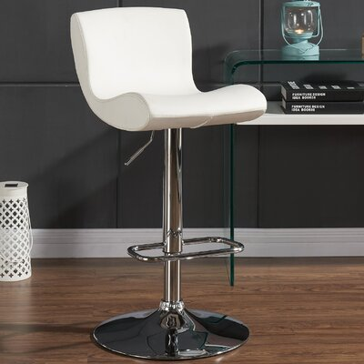 Priscilla Adjustable Height Faux Leather Stool Upholstery: White
