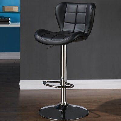 Lexie Adjustable Faux Leather Stool (set of 2) Upholstery: Black