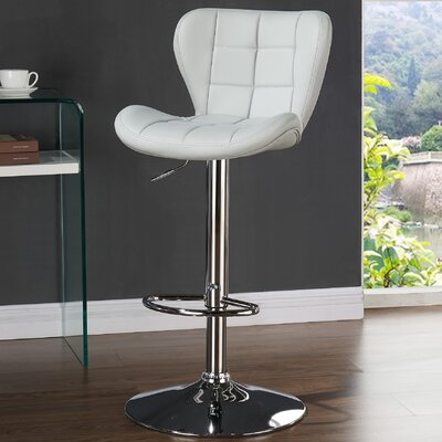 Lexie Adjustable Faux Leather Stool (set of 2) Upholstery: Light Gray