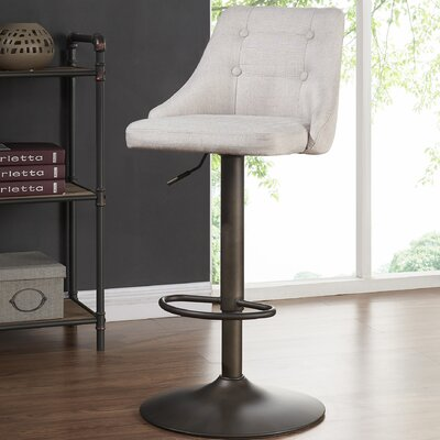 Judkins Fabric Adjustable Height Stools Upholstery: Beige