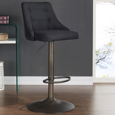 Judkins Adjustable Height Bar Stool Upholstery: Black