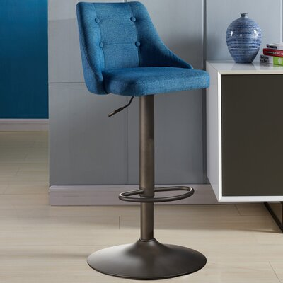 Judkins Fabric Adjustable Height Stools Upholstery: Blue
