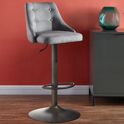 Judkins Adjustable Height Bar Stool Upholstery: Gray