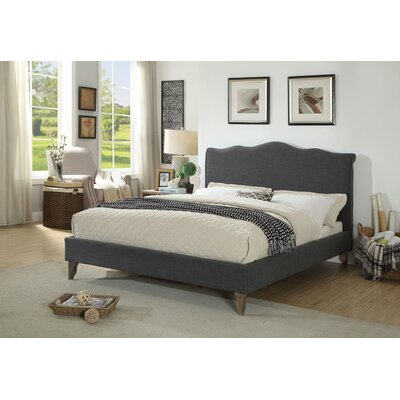 Elden Scallop Queen Upholstered Sleigh Bed Color: Gray