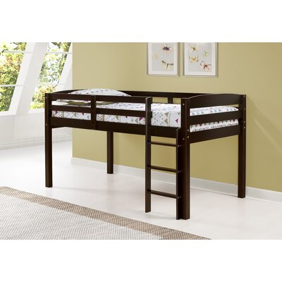 Junior Loft Slat Bed Bed Frame Color: Cappuccino, Size: Twin