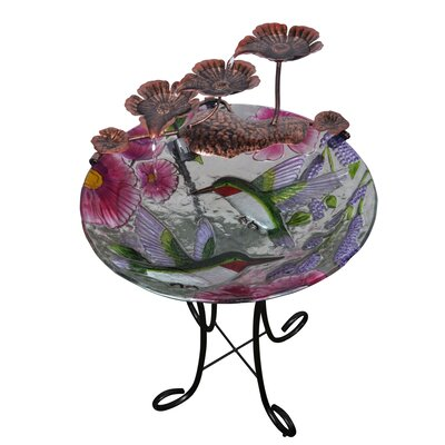 Resin Outdoor/Indoor Hand Painted Hummingbird Glass Fountain POL-0001C