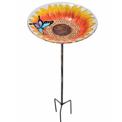 Outdoor Sunflower Fusion Glass Decorative Bird Feeder 2202581