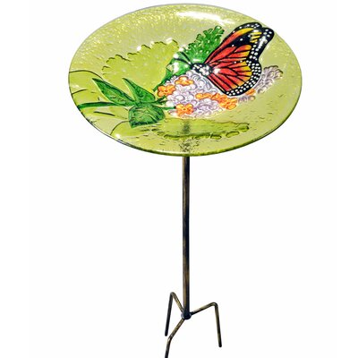 Outdoor Butterfly Fusion Glass Decorative Bird Feeder 2212460