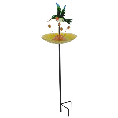 Outdoor Dragonfly Fusion Glass Decorative Bird Feeder 3214551D