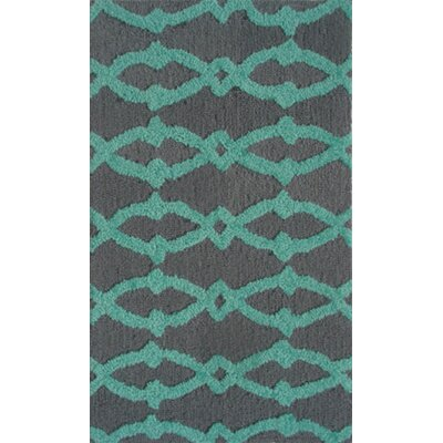 Handmade Aqua/Gray Area Rug Rug Size: 110 x 210